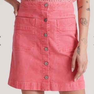 Lucky Brand button front mini corduroy Rust skirt